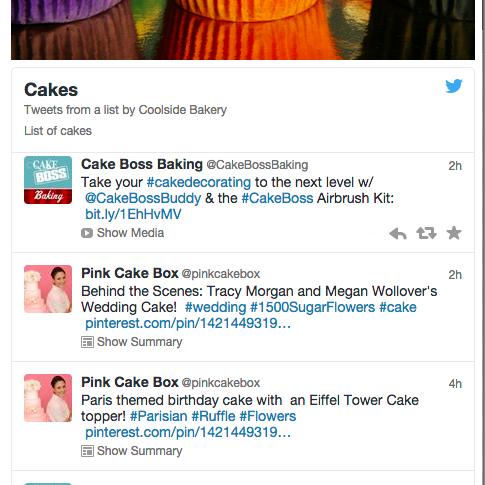 Example Twitter List widget