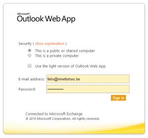 Log in on Outlook Web App