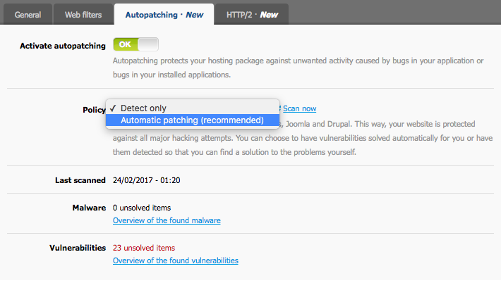 choose 'Automatic patching'