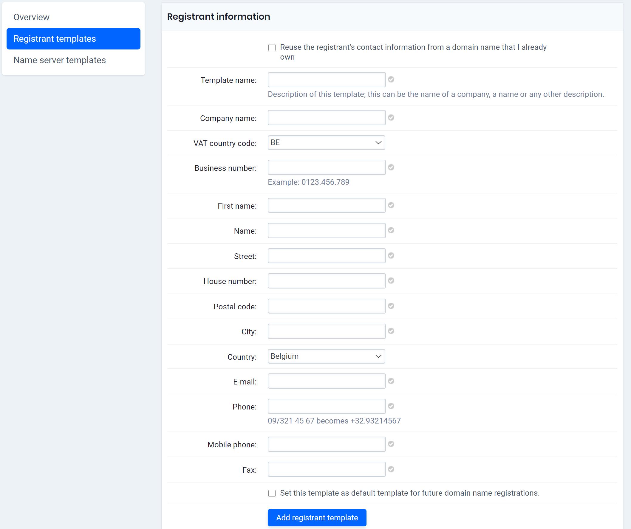 add registrant template