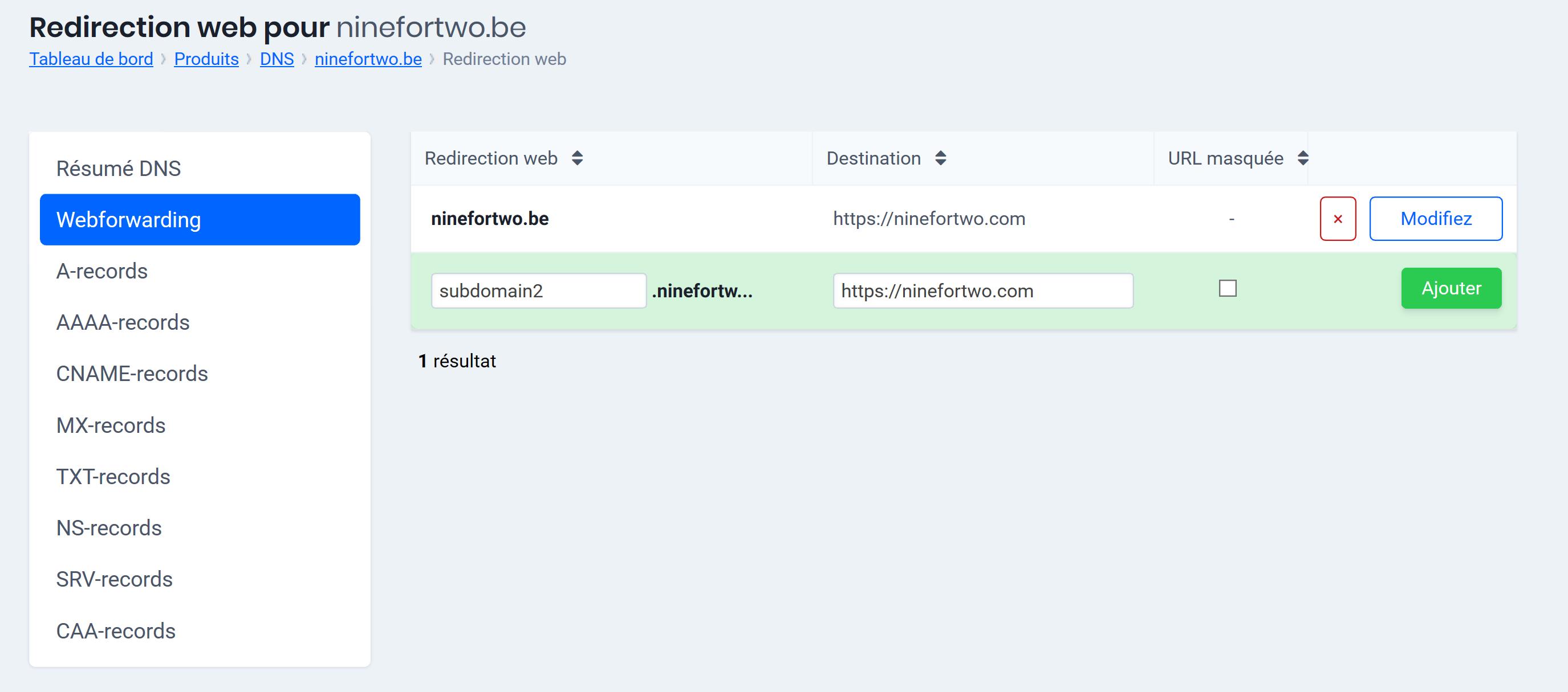 Webforwarding: options avancées