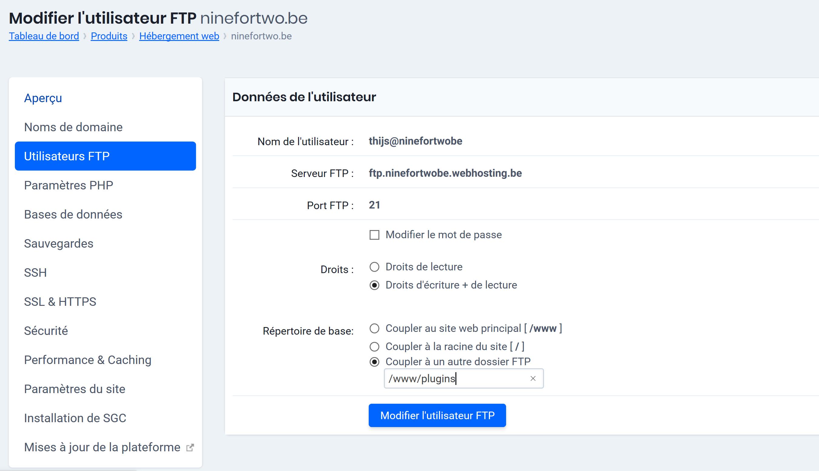 'Utilisateurs FTP' > 'Répertoire de base' > 'Coupler & un autre dossier FTP'