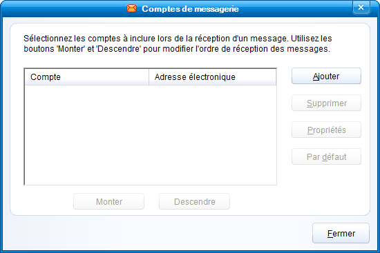 Comptes de messageries