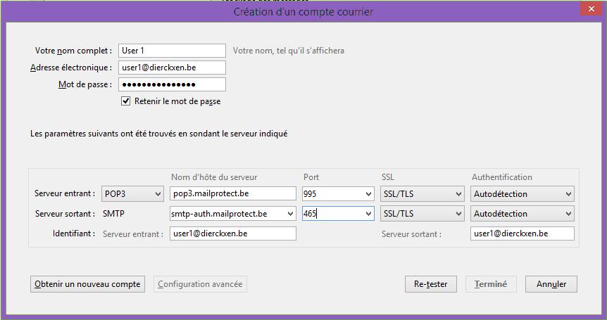 Création d'un compte courrier POP3 + SSL