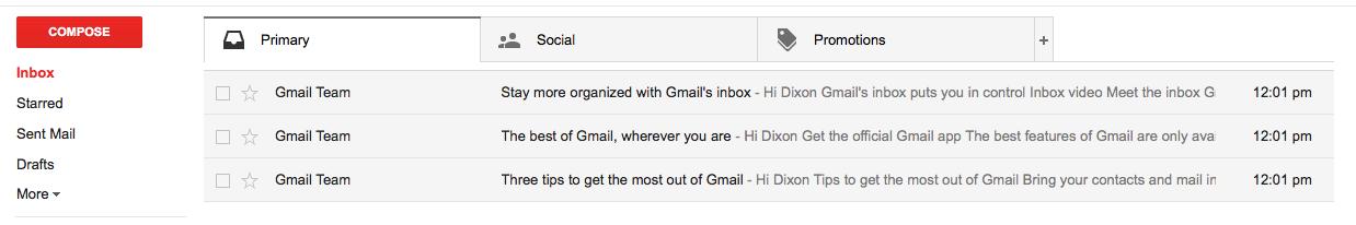 aperçu des e-mails