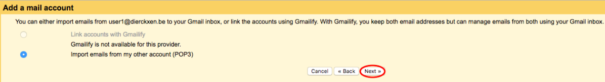 Cliquez sur 'Importer des messages à partir de mon autre compte (POP3)'