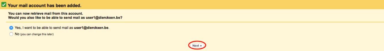 Choisissez si vous voulez avoir la possibilité d'envoyer des e-mails en utilisant votre nouveau compte