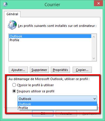 Modifiez le profil que vous utilisez
