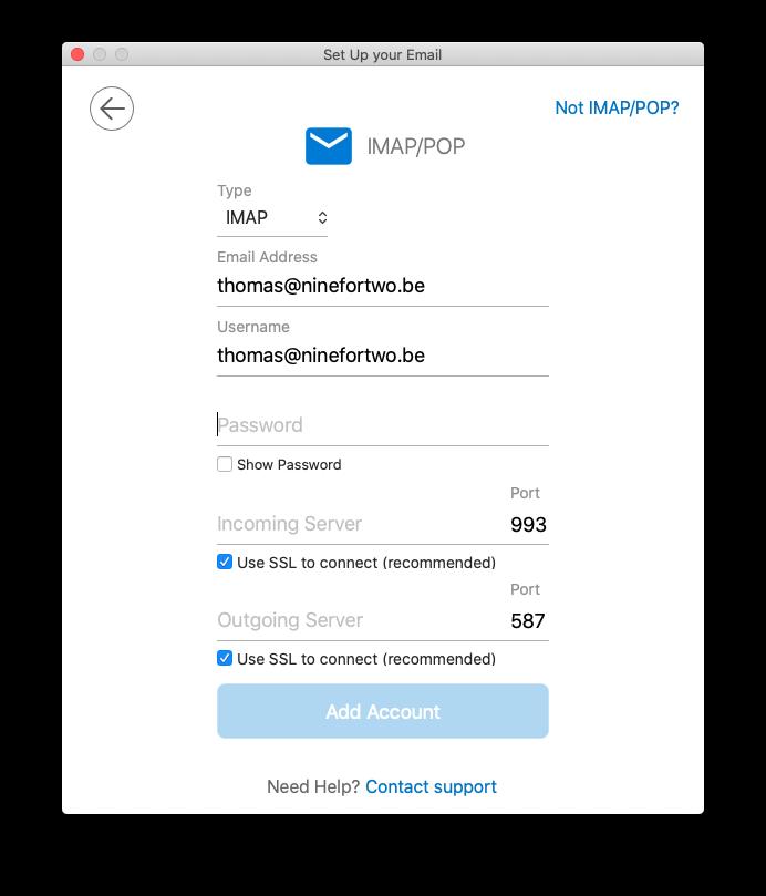 Sélectionnez IMAP ou POP et remplissez les données