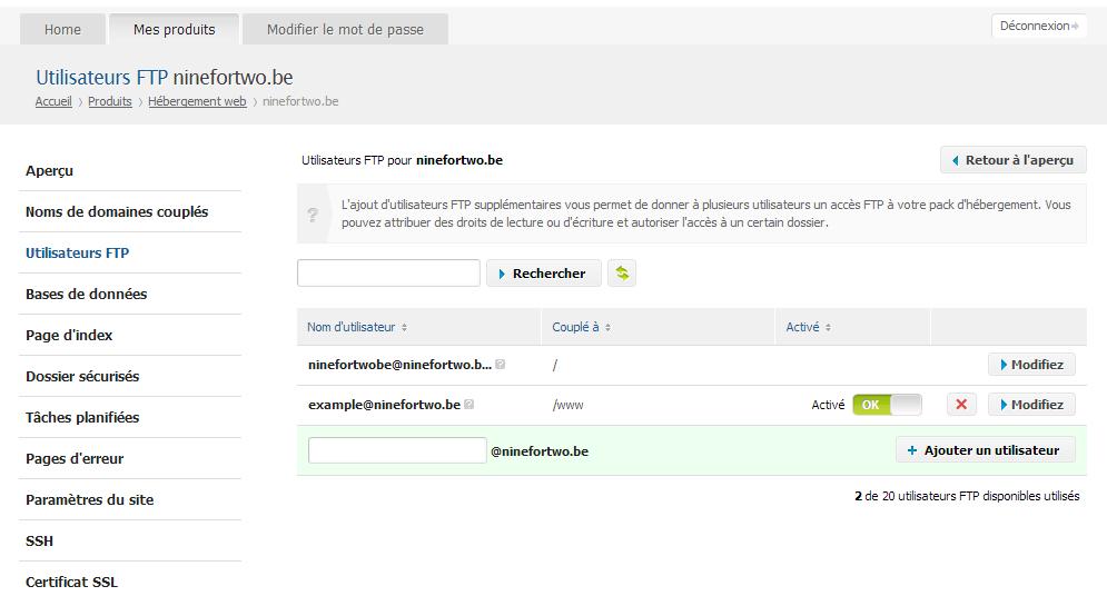 Cliquez sur 'Utilisateurs FTP'