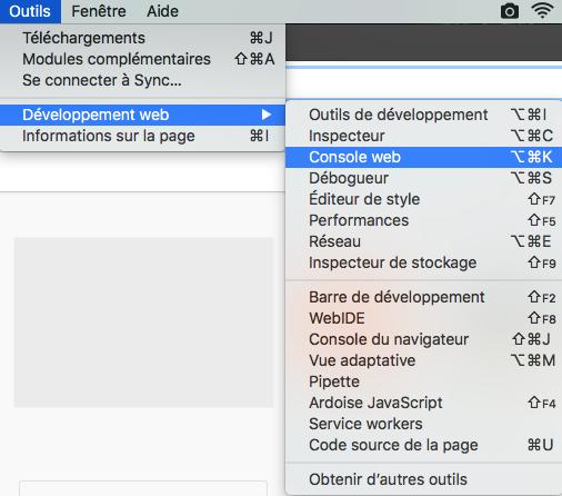 Outils >> Développeur web >> Console web