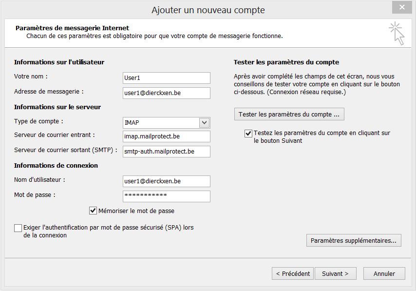 Choisissez IMAP ou POP3 dans le menu déroulant et complétez les données manquantes