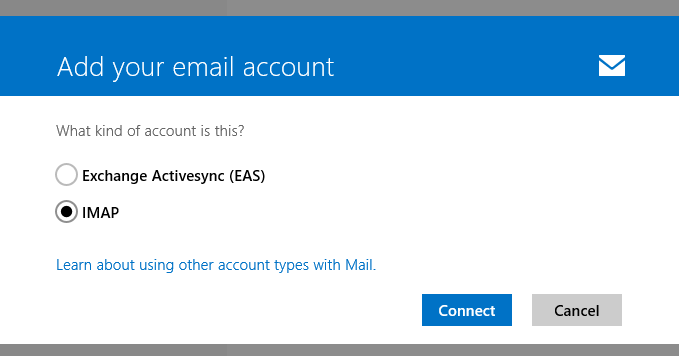 Ad your emal account >> IMAP