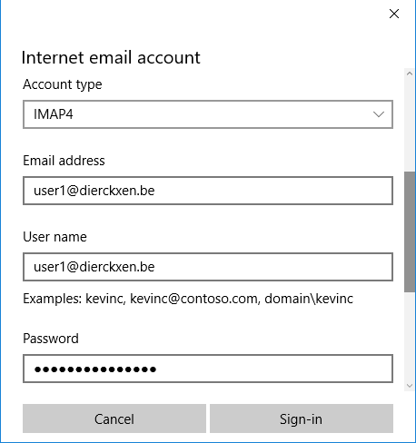 Internet email account
