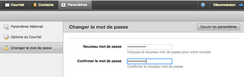 Paramètres > Changer le mot de passe