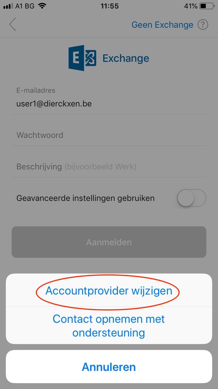 accountprovider wijzigen