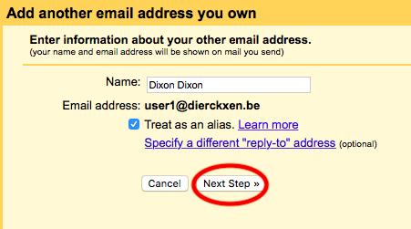Vul naam in en klik op next step