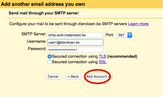 Vul de instellingen in van uw SMTP-server. Klik op 'Add account'