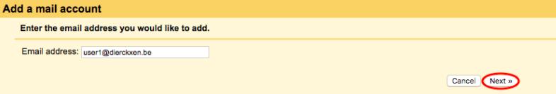 Vul ander e-mailadres in en klik op next