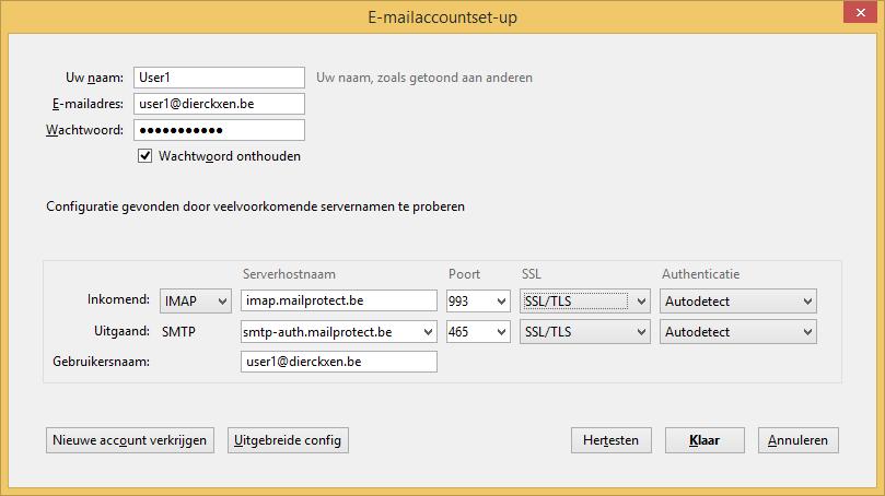 E-mailaccountset-up IMAP + SSL