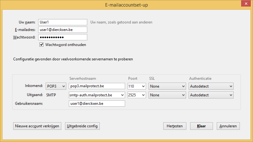 E-mailaccountset-up POP3