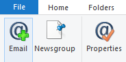 Wissel naar tabblad accounts en klik op e-mail
