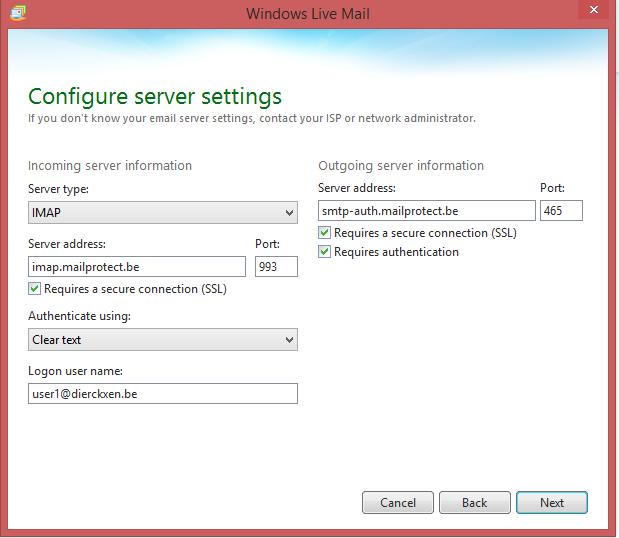 Vul gegevens in voor server instellingen (IMAP)