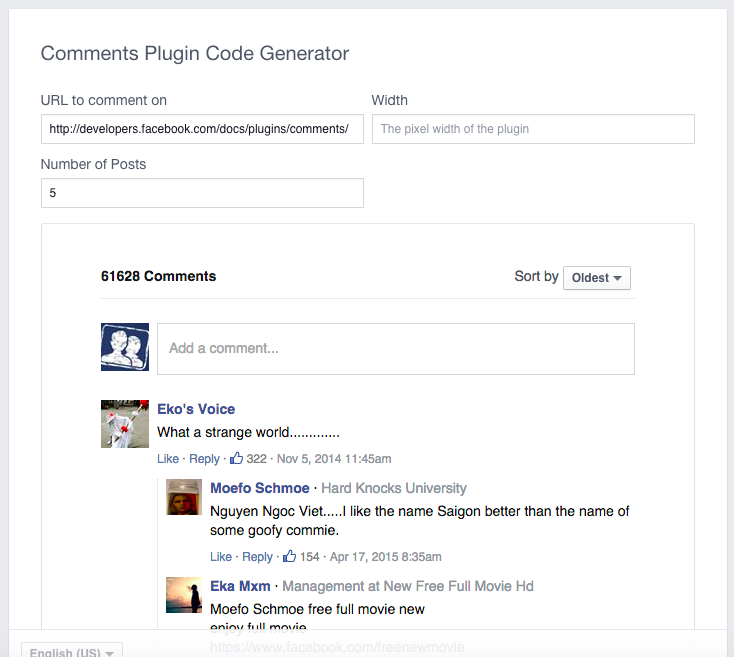 Comments Plugin Code Generator