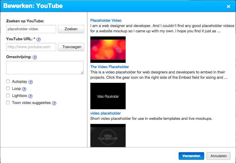 Bij Zoeken op YouTube vult u een trefwoord in