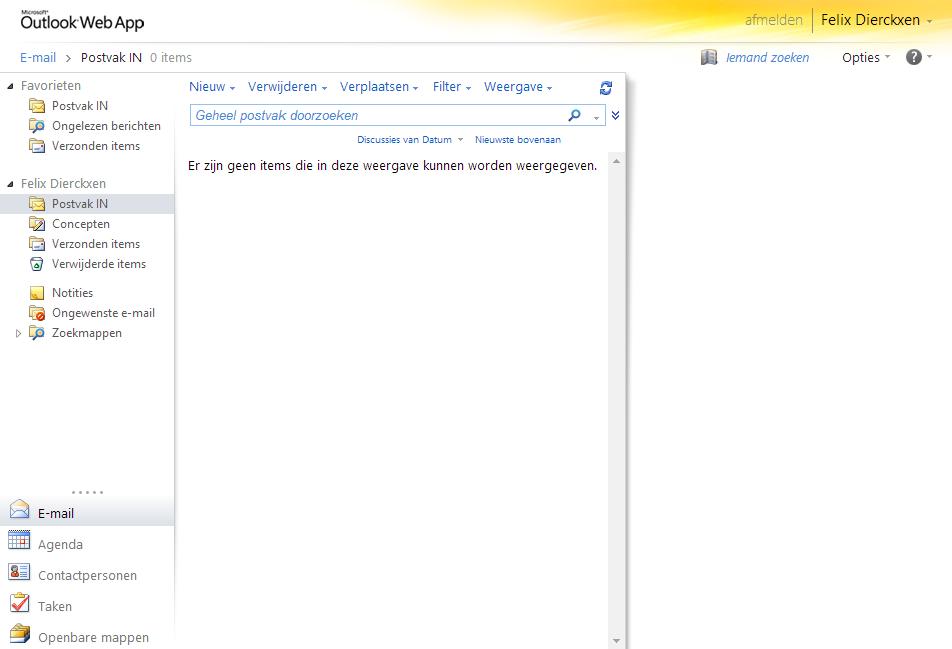 Overzicht Outlook Web App