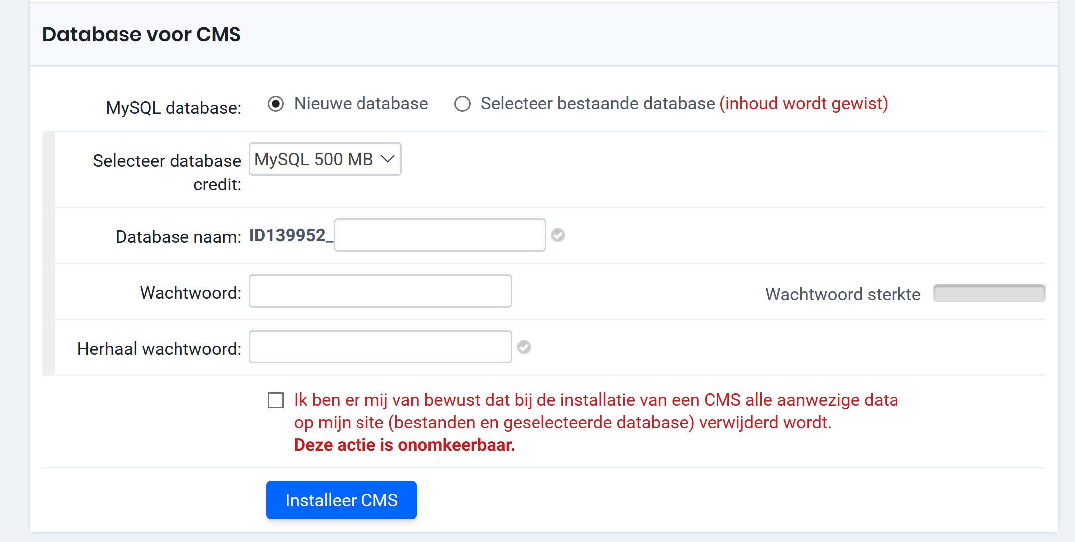 Database voor CMS
