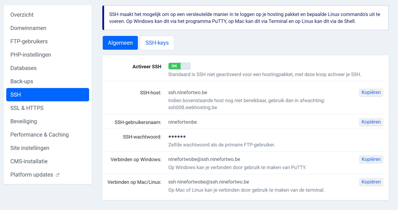 FTP met SSH gegevens