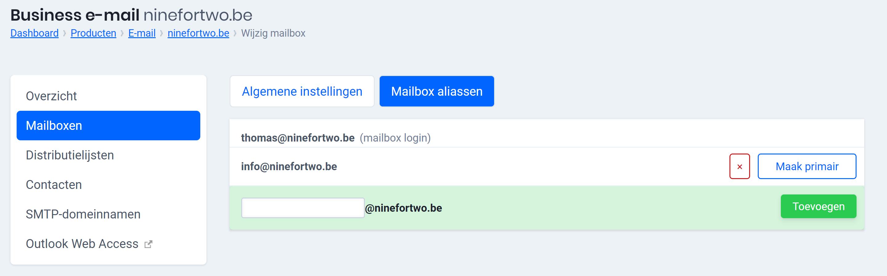 mailbox alias