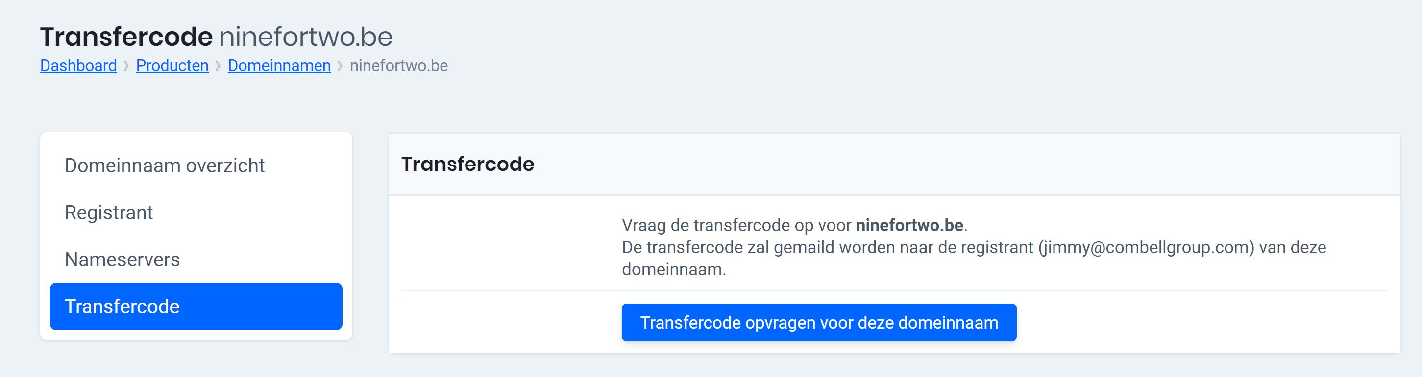 Transfercode opvragen